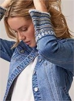 MELANIE LYNE Fringe & Embroidery Denim Jacket- 8