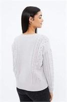 AERO Matte Chenille Jacquard Cable Sweater- L