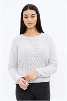 AERO Matte Chenille Jacquard Cable Sweater- XS