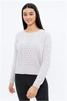 AERO Matte Chenille Jacquard Cable Sweater -S