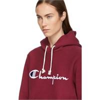 Champion Reverse Weave Burgundy Logo Hoodie-L*READ
