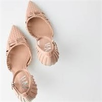 Zara Pink Woven High 1205/510 Pumps- US 8