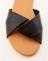 LE CHÂTEAU Faux Leather Slide Sandal LT BLUE- 6