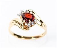 Jewelry 14kt Yellow Gold Garnet & Diamond Ring