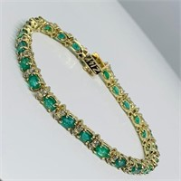14KT YELLOW GOLD 8.00CTS EMERALD & 1.50CTS DIA.