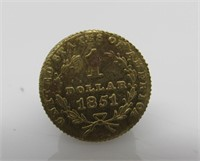 1851 Liberty Head Gold $1 Coin