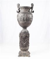 Vintage Grecian Style Bronze Urn & Pedestal