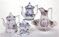 Selection of Staffordshire transferware