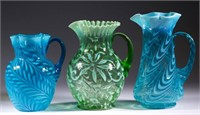 From a large selection of opalscent glass including many water pitchers.