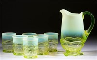 From a large colleciton of opalescent pressed glass