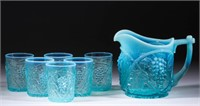 From a large collection of opalescent pressed glass