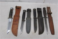 (4) Early fighting knives with sheaths – USN mark
