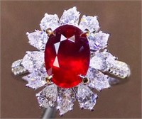2ct Mozambique Ruby 18k Gold Diamond Ring