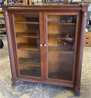 +Antique Oak Claw Foot Double Door Curio Cabinet/