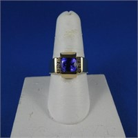 14 k Gold Ring w/Amethyst & Diamonds