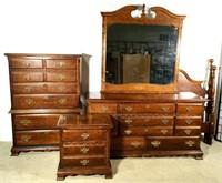 (4 piece ) Walnut Finish Bedroom Set