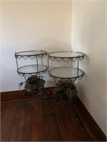 2 glass top lamp tables