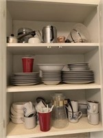 misc. cups, plates, dishes, & wine rack