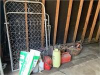 ice melt, hand sprayer, fence gates, gas cans,