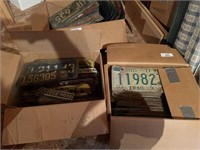 Two Boxes of Vintage License Plates