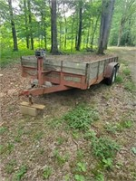OLD WOOD FLOOR TRAILER - RAMPS/ SPARE TIRE