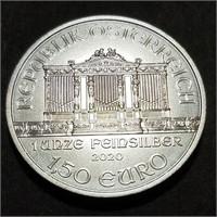 2020 AUSTRIA €1.5 .999 1 OZT Silver Philharmonic