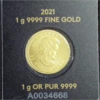 2021 Canada GOLD 1 gram Maple in Assay