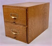 Oak file case, 2 drawers, metal drawer pulls,
