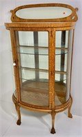 Oak China cabinet, curved glass door ends, mirror