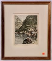Colored engraving - Hans Leisch - Austrian Village