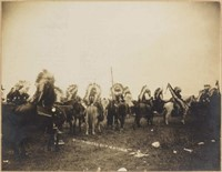 Francis Marion Steele (XXX) cabinet photo of American Indians at Dodge City, KS in 1906