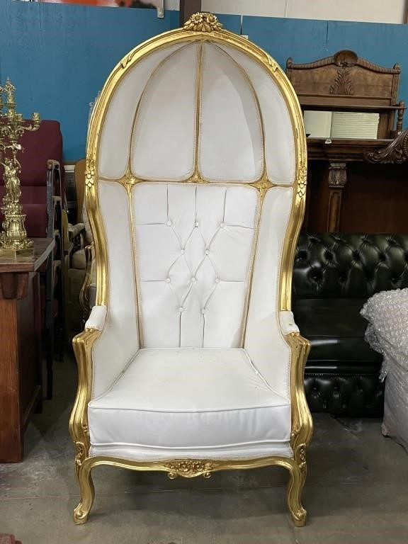 French Gold Gilded Canopy Leather Chair