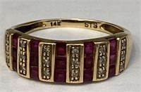 10K Gold Ruby & Diamond Ring