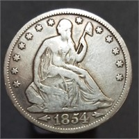 1854 Seated Liberty Half Dollar - Arrows at Date