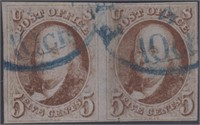 US Stamps #1 Used Rejoined Pair with Blue CDS Canc