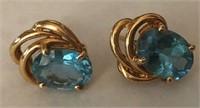 14kt Gold & Blue Topaz Earrings