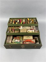 Vintage Kennedy Metal Tackle Box Full of Lures