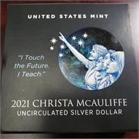 2021-P Christa McAuliffe Silver Dollar w OGP COA