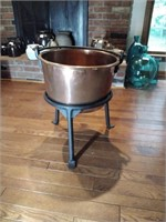 Picking and co copper kettle on stand. Dovetailed