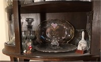 Curved Front Curio Cabinet & Contents