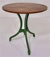 Drug Store table, iron base painted green, walnut