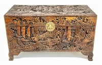 Camphor wood blanket chest, deep carving,