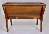 Poplar dough box, walnut legs, dovetailed case,