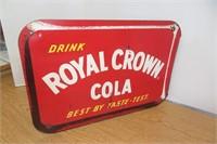 Vintage 2 Sided Metal Flang Royal Crown Cola Sign