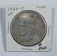 1928-S  Peace Dollar   VF