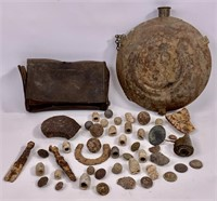 Civil War relics and leather bullet pouch, tin