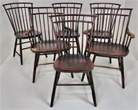 6 dove cote Windsor's, mahogany finish is worn,