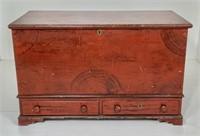 Pine 2 drawer blanket chest, mahogany grained,