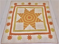 Vintage quilt - white, orange, mustard yellow,