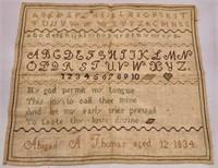 1834 Sampler - Abigail A. Thomas